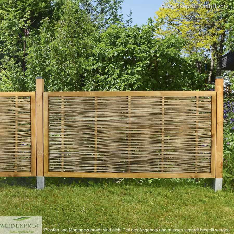 Gartenzaun Robinie waagrecht geflochten 120 x 60 cm Zäune