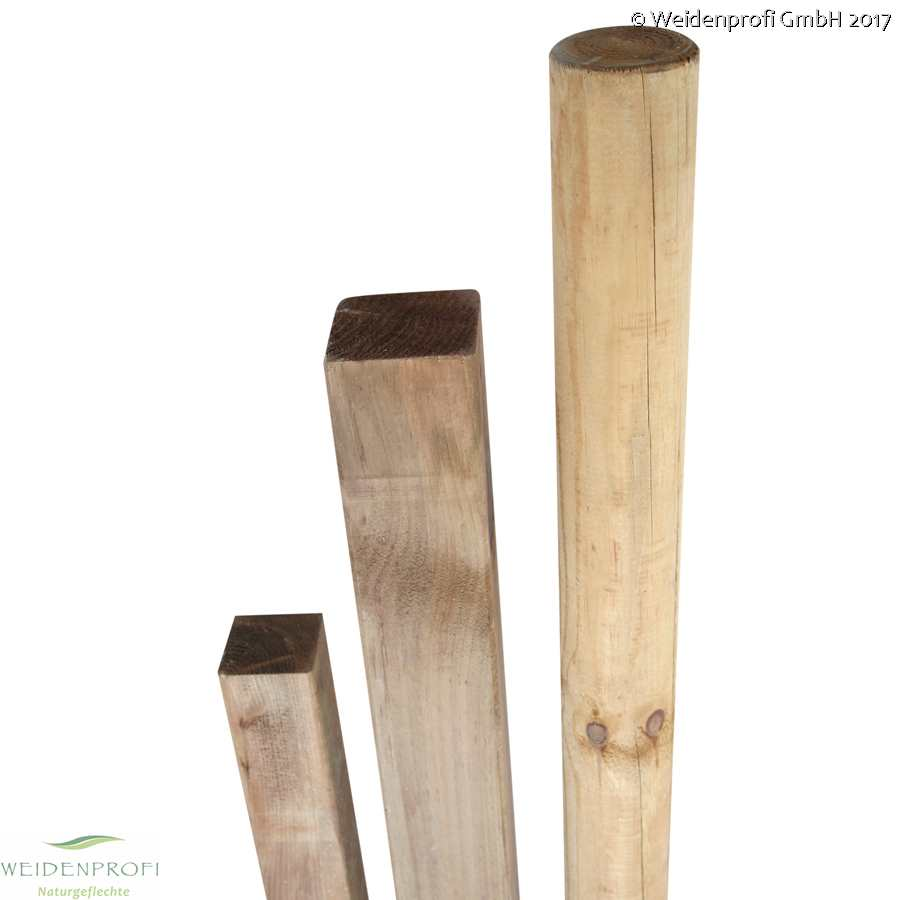 10x Holzpfosten Kiefer eckig naturbelassen ungespitzt 9 x 9 x