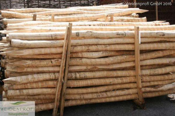 Holzpfosten Robinie rund, entrindet,