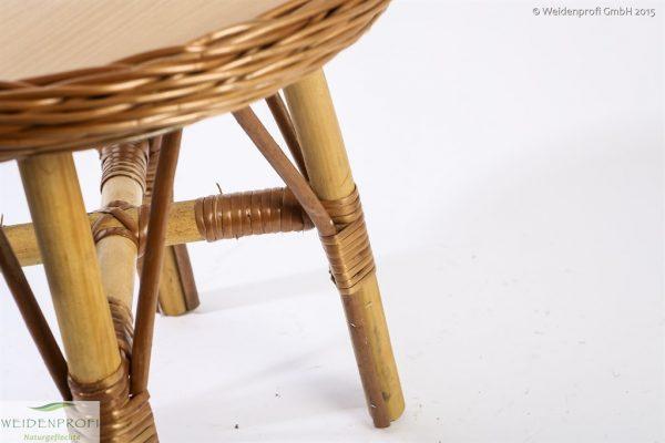 Kindertisch Detailbild Flechtung Tischplatte und Füße