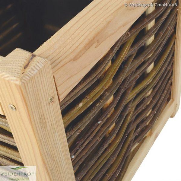 Pflanzkasten aus Lärchenholz und Weide Detailbild Rahmen
