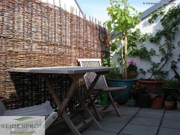 Weidenzaun Baldo Natur als Balkon - Sichtschutz
