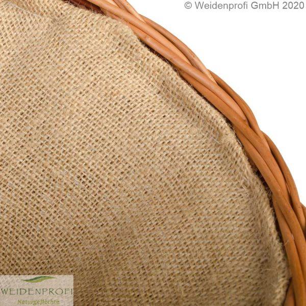 Holzkorb Weide, 2-farbig, Detail Jute