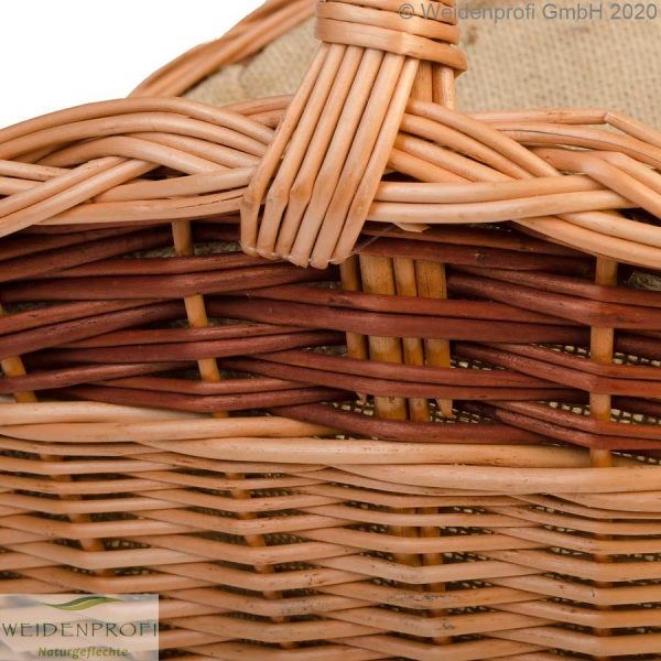 Holzkorb, Weide, 2-farbig, Detail Griff und Flechtung